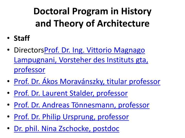 Doctoral Program in History