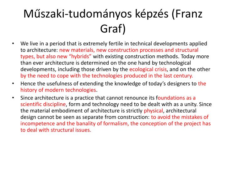 Műszaki-tudományos képzés (Franz Graf)
