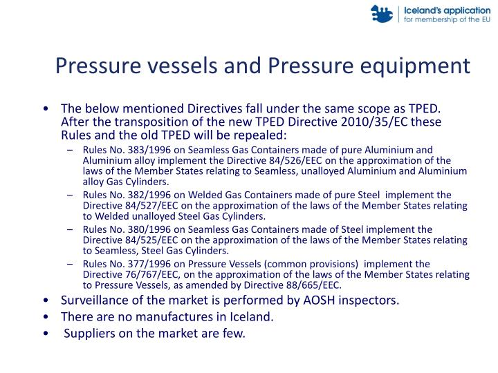 Pressure vessels and Pressure equipment