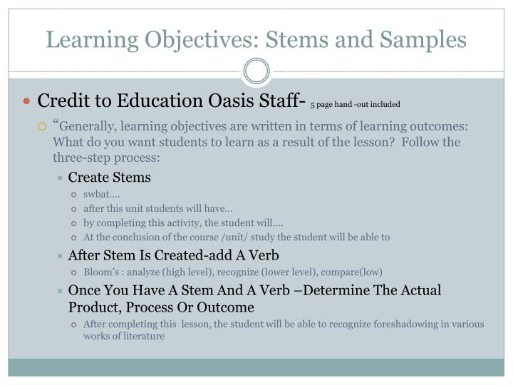 Learning Objectives: Stems and Samples