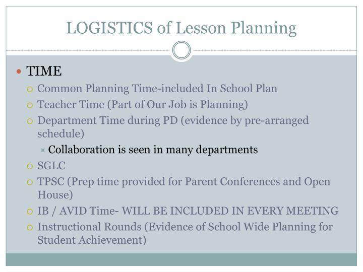 LOGISTICS of Lesson Planning