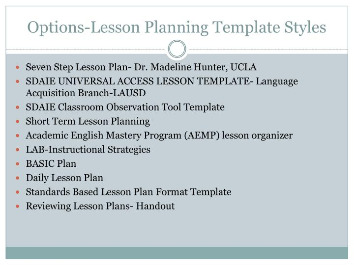 Options-Lesson Planning Template Styles