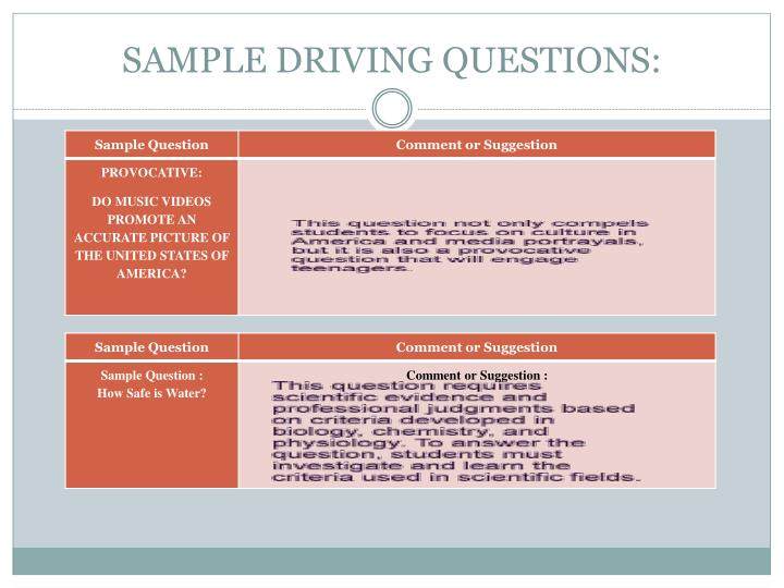 SAMPLE DRIVING QUESTIONS:
