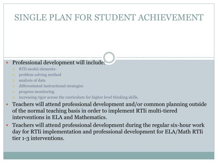SINGLE PLAN FOR STUDENT ACHIEVEMENT