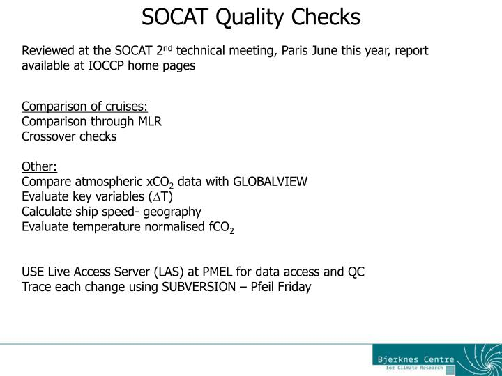 SOCAT Quality Checks