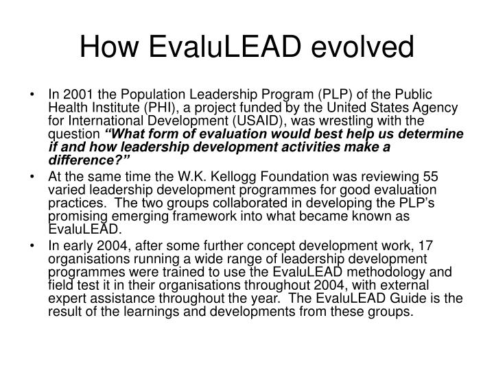 How EvaluLEAD evolved