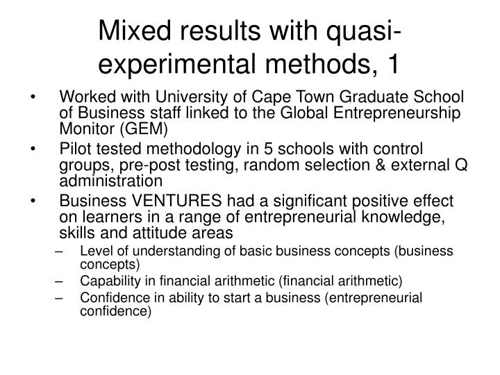 Mixed results with quasi-experimental methods, 1