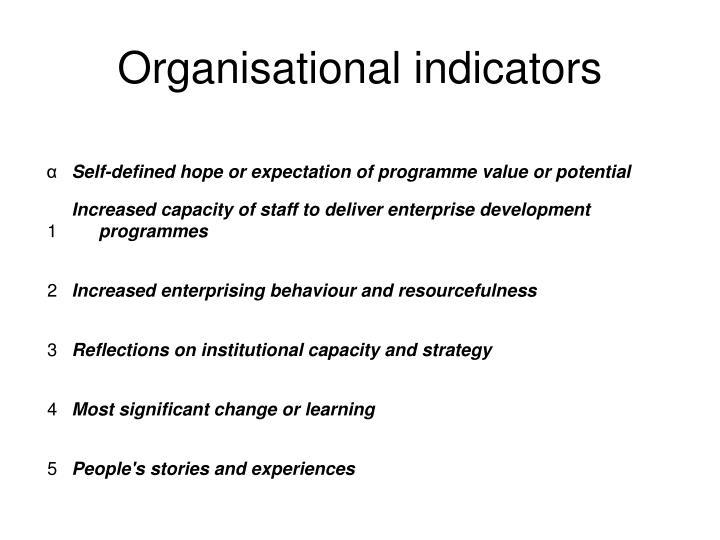 Organisational indicators