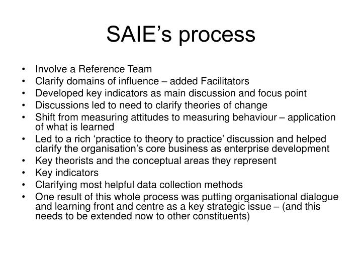 SAIE's process