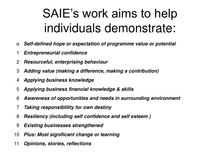 SAIE's work aims to help individuals demonstrate:
