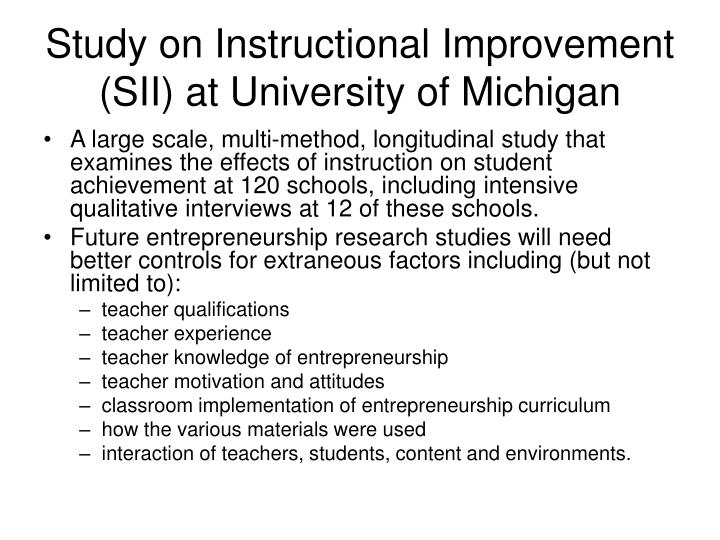 Study on Instructional Improvement (SII) at University of Michigan