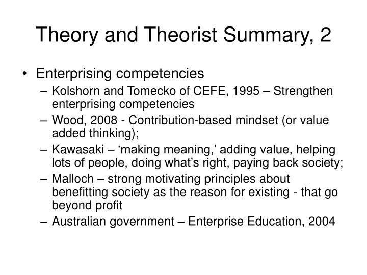 Theory and Theorist Summary, 2