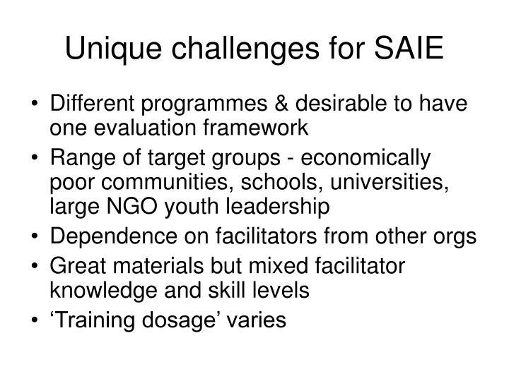 Unique challenges for SAIE