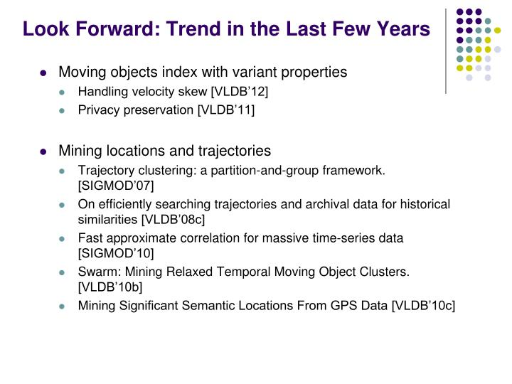 Look Forward: Trend in the Last Few Years