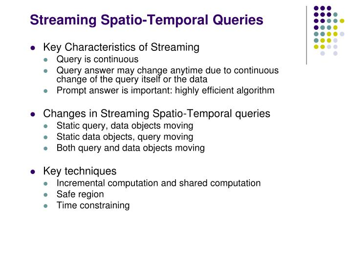 Streaming Spatio-Temporal Queries