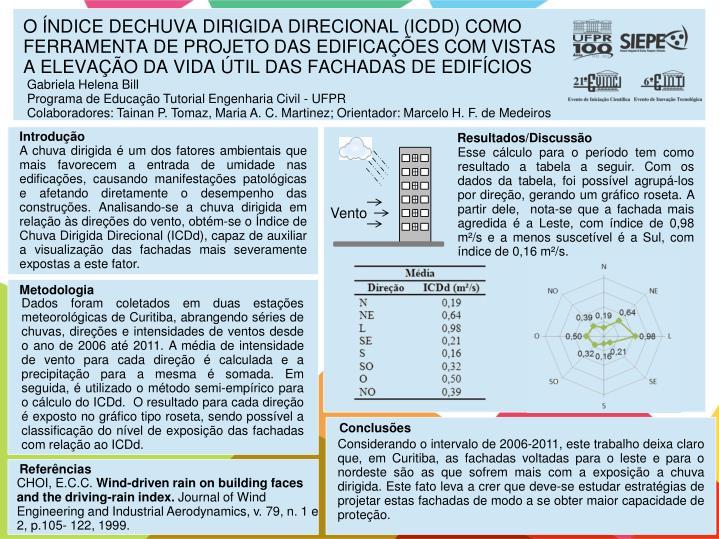 O ÍNDICE DECHUVA DIRIGIDA DIRECIONAL (ICDD) COMO FERRAMENTA DE PROJETO DAS EDIFICAÇÕES COM VISTAS