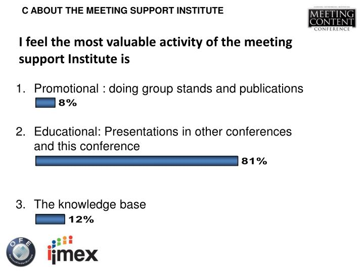 I feel the most valuable activity of the meeting support Institute is