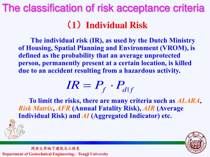 The classification of risk acceptance criteria