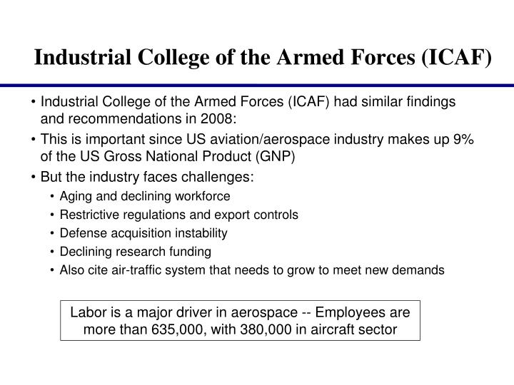 Industrial College of the Armed Forces (ICAF) had similar findings and recommendations in 2008: