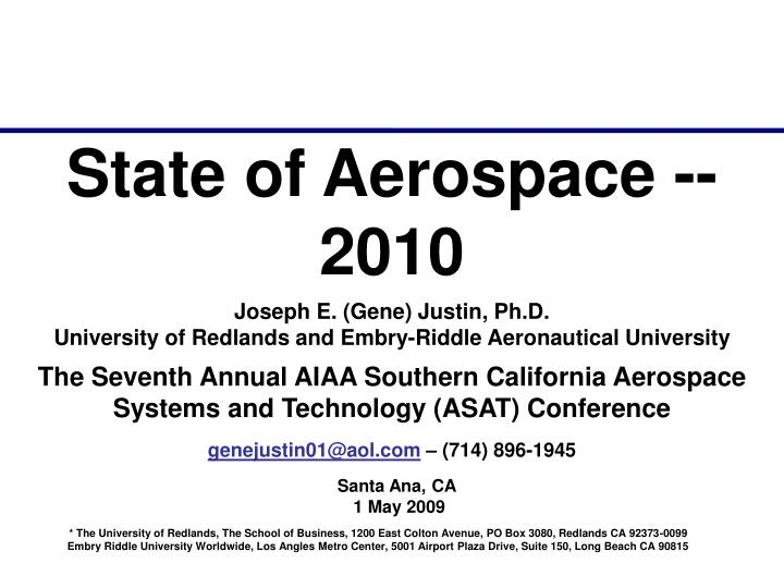 State of Aerospace -- 2010