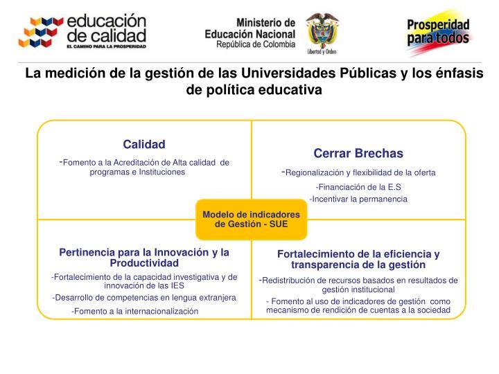 La medición de la gestión de las Universidades Públicas y los énfasis de política educativa