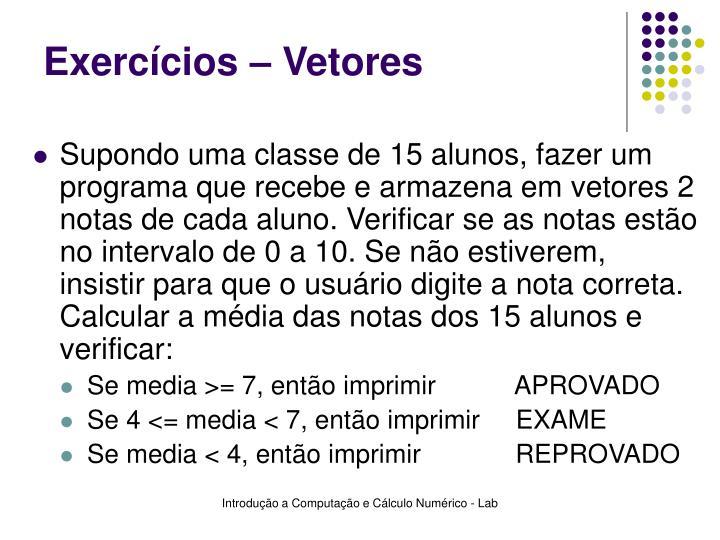 Exercícios – Vetores