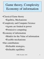 game theory complexity economy of information