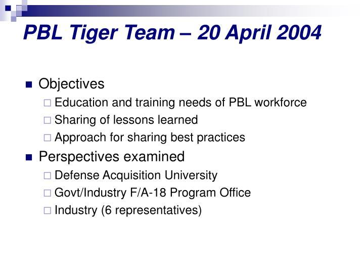 PBL Tiger Team – 20 April 2004
