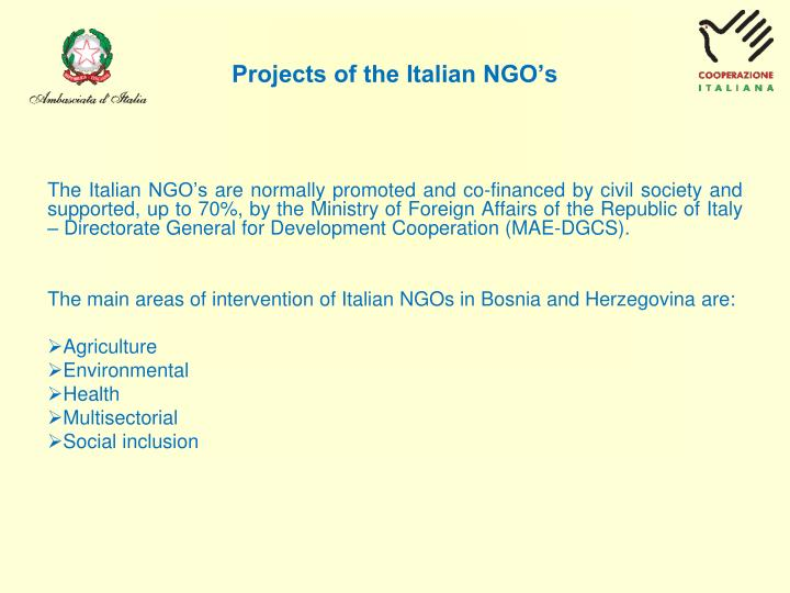 Projects of the italian ngo s