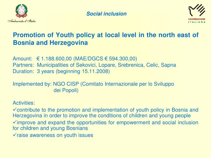 Promotion of Youth policy at local level in the
