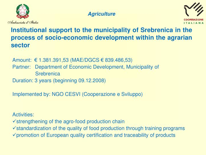 Institutional support to the municipality of Srebrenica in the process of socio-economic development...