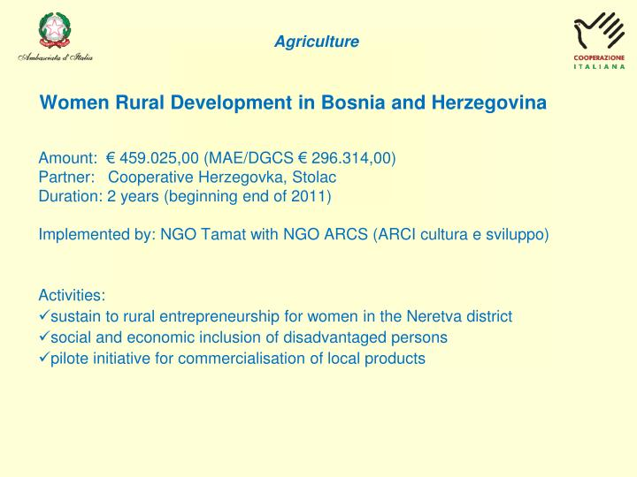 Women Rural Development in Bosnia and Herzegovina