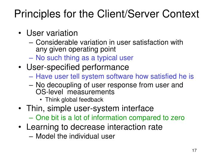 Principles for the Client/Server Context