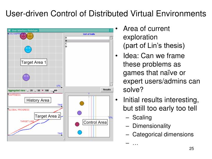 User-driven Control of Distributed Virtual Environments
