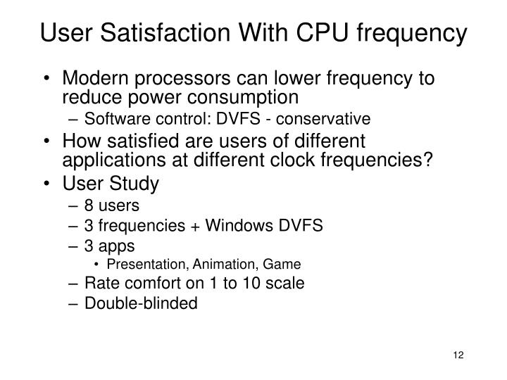 User Satisfaction With CPU frequency