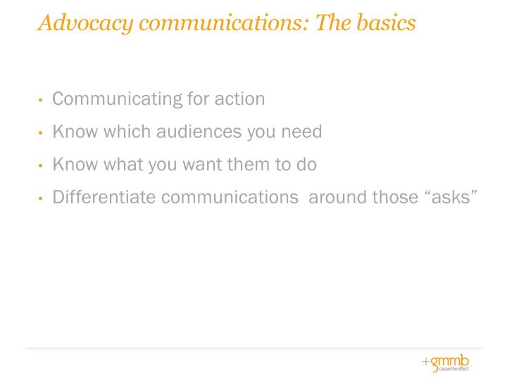 Advocacy communications: The basics