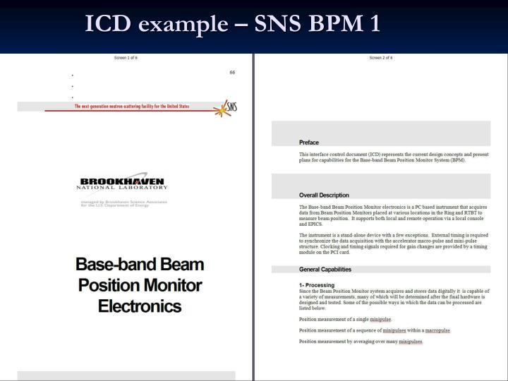 ICD example – SNS BPM 1