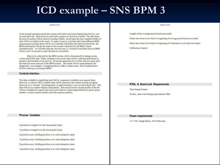 ICD example – SNS BPM 3