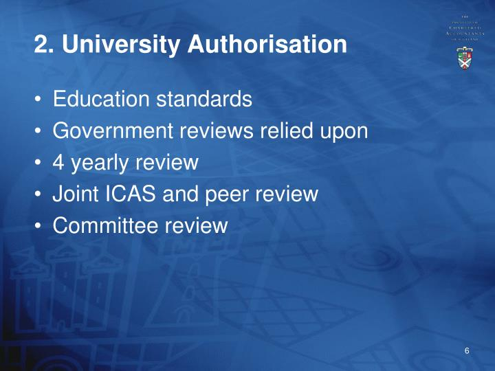 2. University Authorisation