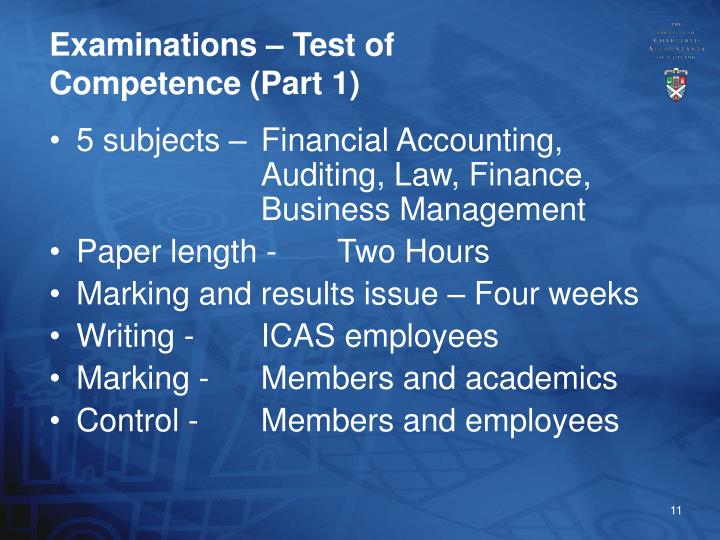 Examinations – Test of Competence (Part 1)