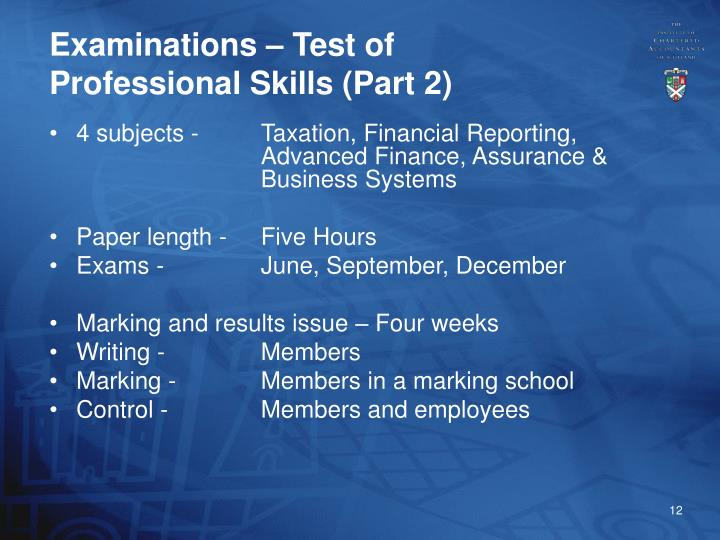 Examinations – Test of Professional Skills (Part 2)