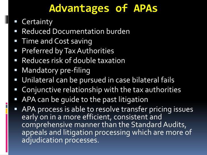 Advantages of APAs