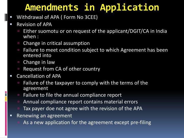 Amendments in Application