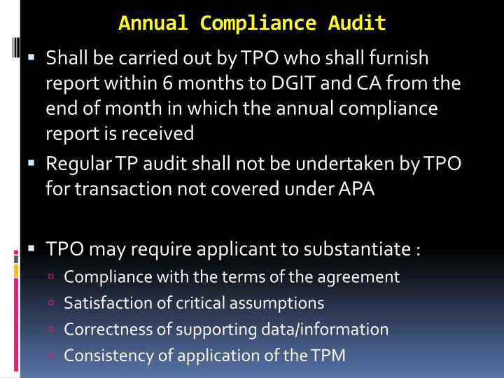 Annual Compliance Audit