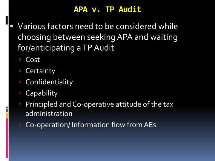 APA v. TP Audit