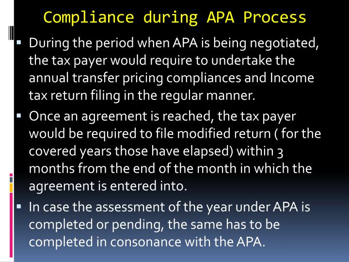 Compliance during APA Process