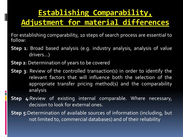 Establishing Comparability, Adjustment for material differences