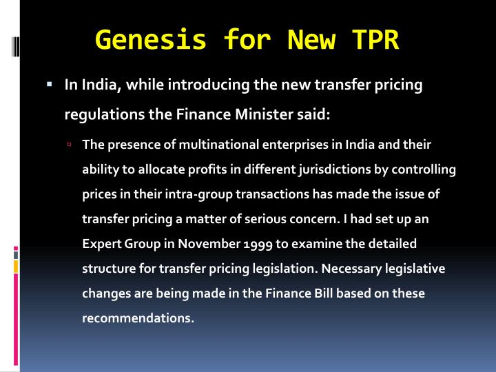 Genesis for new tpr