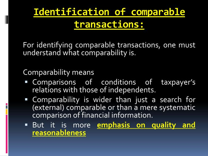 Identification of comparable transactions:
