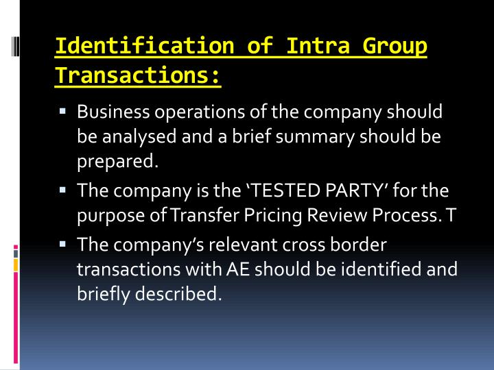 Identification of Intra Group Transactions: